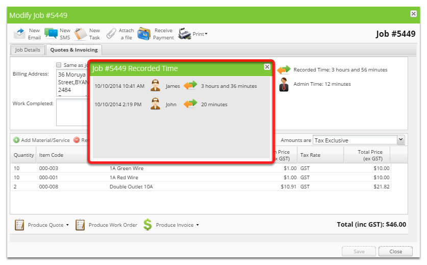 Move your mouse over or click the recorded time to see a breakdown of time by staff member / date