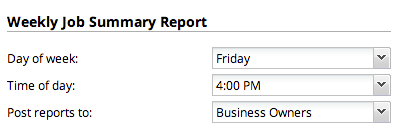 Settings available for the Weekly Job Summary report
