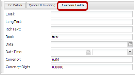 Job card custom fields are placed on a third tab next to Quotes & Invoicing