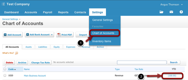 Log in to Xero and go to Settings > Chart of Accounts