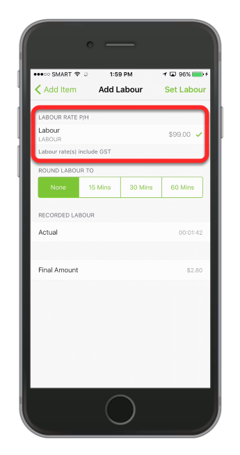 Tap to select the appropriate labour rate from the list of labour items