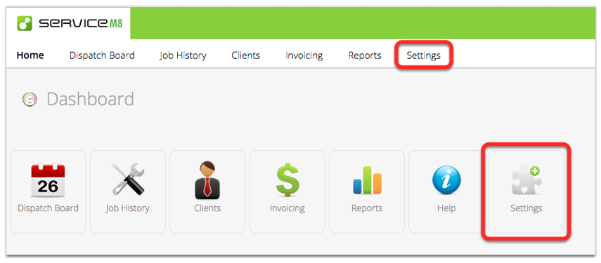 Log in to ServiceM8 and click the Settings menu