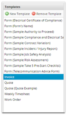 Select the template type you wish to adjust. E.g. Invoice.