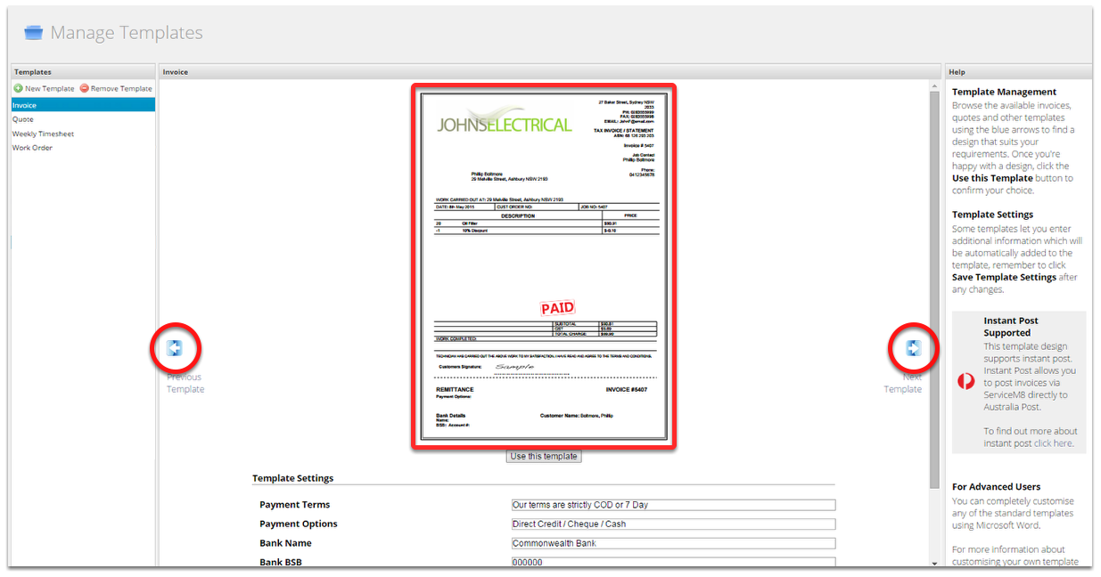 I Cant See Any Invoicequote Template Designs In The Document - Invoice document template