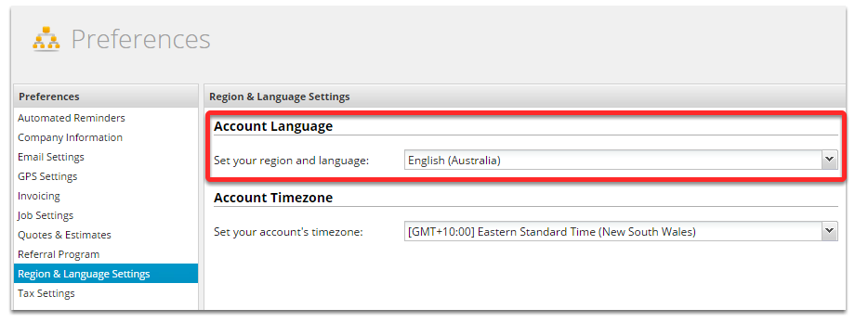 From the Preference left panel, click Region & Language Settings