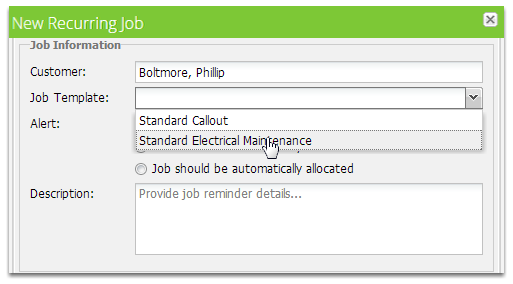 Select a Job Template