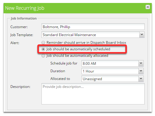 how do i create a recurring job servicem8 help