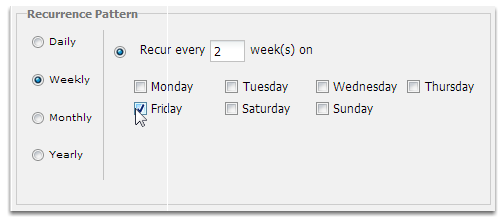 Set the recurrence pattern to weekly, every two weeks and tick Friday