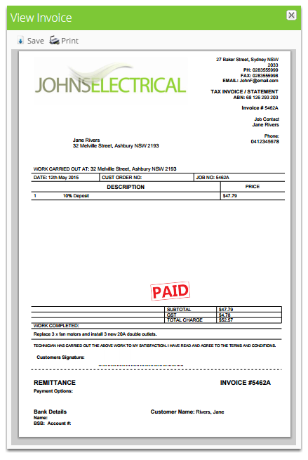 That's it! The receipt is now ready to send to your customer