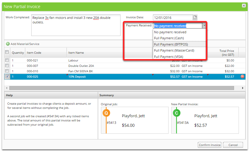 Click Payment Received and select a Full Payment type