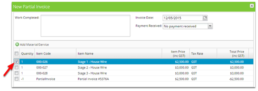 Tick the item you wish to partially invoice for.