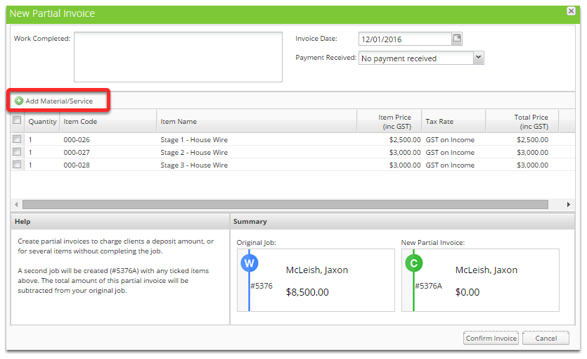 How to partial invoice for a deposit – ServiceM8 Help