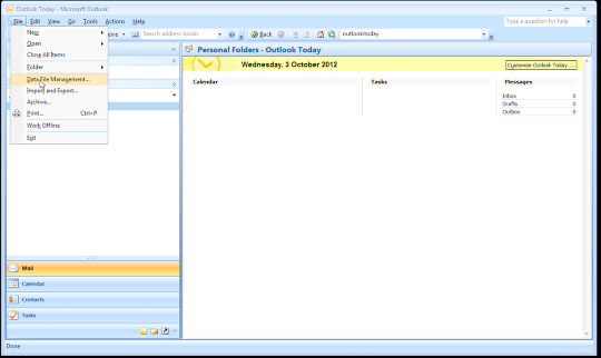 Open Microsoft Outlook, and select Data File Management from the File menu
