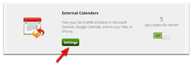 Click Settings to get your external calendar link (URL)