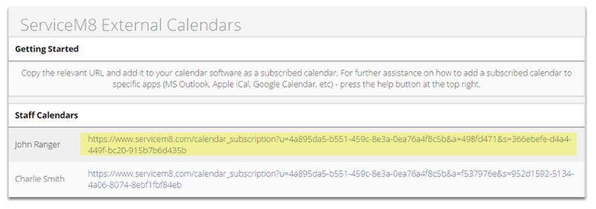 ServiceM8 External Calendars Link (URL)