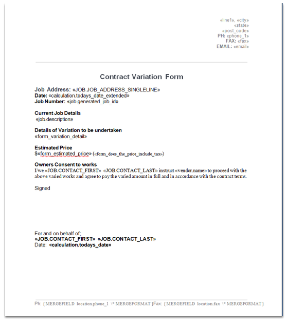 Create the document template for your Contract Variation form