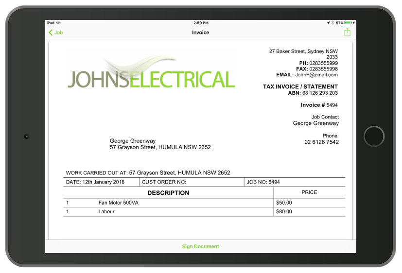 ServiceM8 brings up a preview of the invoice with the option to sign