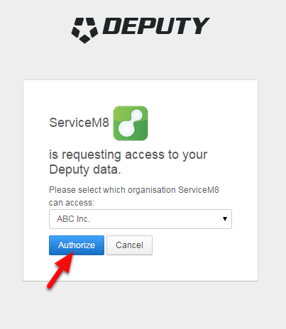 Select your Deputy account and click Authorize