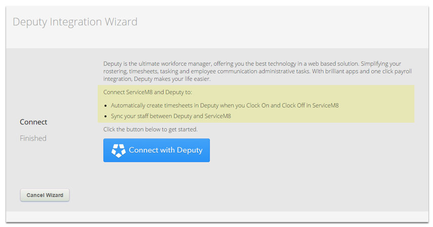 Welcome to Deputy Integration Wizard