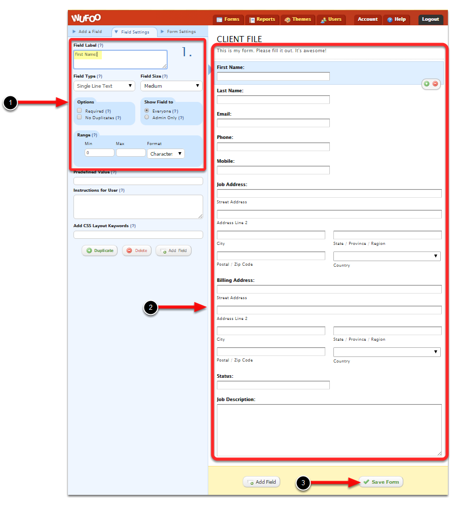 create a form in wufoos website