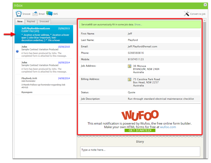 Select the email about the form you have created and submitted from Wufoo