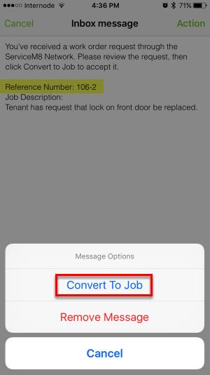 Tap Convert To Job