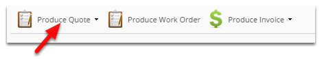 The next step is to produce the quote by clicking the Produce Quote button