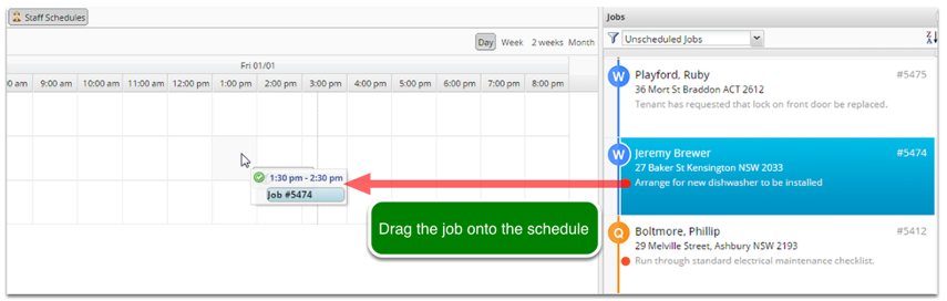 To schedule a job simply click and drag a job onto the schedule