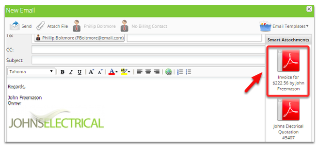From the Smart Attachments panel, click on the invoice file to attach it