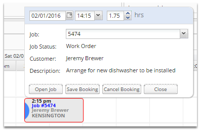 If you would like to bring up more information about a booking, double click on it.
