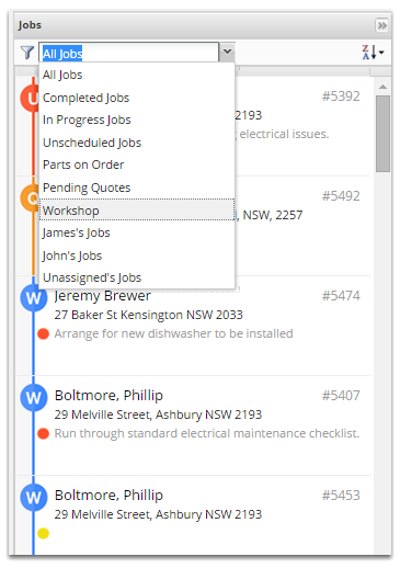 On the right-hand side of the dispatch board is the Job List.