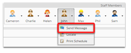 Specify a staff member to message