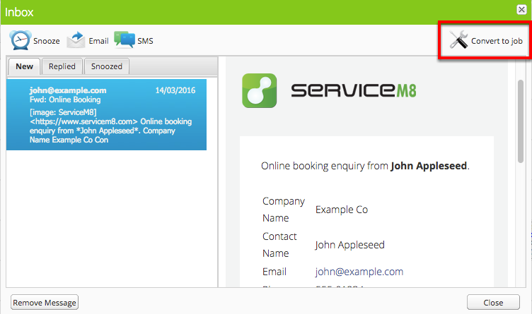 Enquiries arrive in your ServiceM8 Inbox