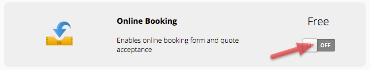Go to Online Booking, and click the switch to turn it on