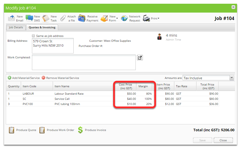 From the job card, click Quotes & Invoicing tab