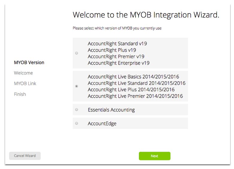 Select the MYOB product and version you're using.