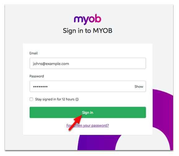 Log in to your MYOB account