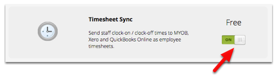 Locate the Timesheet Sync add-on and turn it on