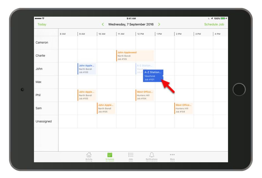 You can reassign or reschedule bookings by dragging and dropping