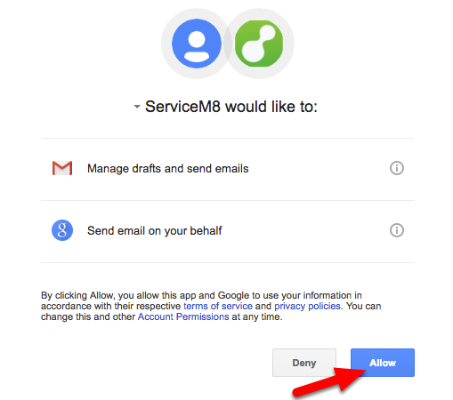 Authorize ServiceM8 to access your Google account