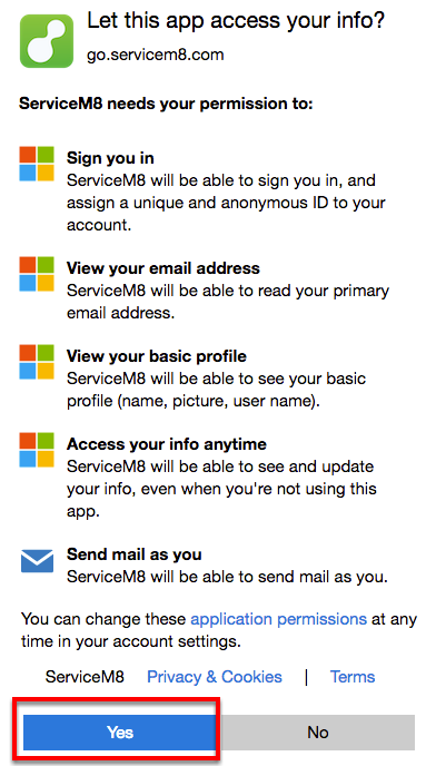 Authorize ServiceM8 to access your Office 365 account