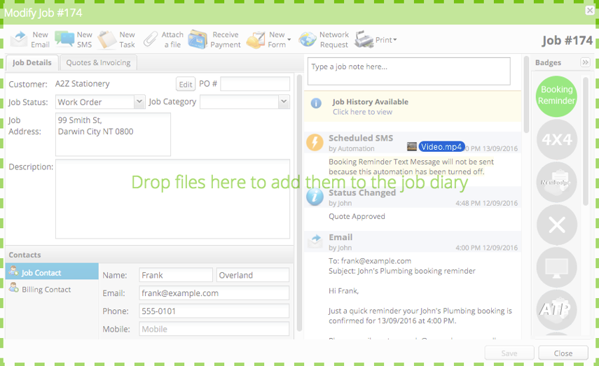 Drag the file(s) from the folder onto the job card