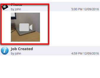 After the upload finishes, the file(s) will be shown in the job diary