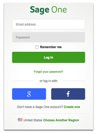 Log in your Sage One's account