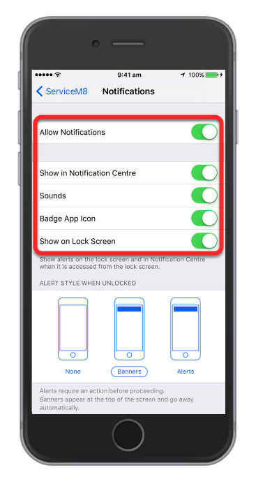 Make sure notifications are on for Sounds, Alerts and Badges