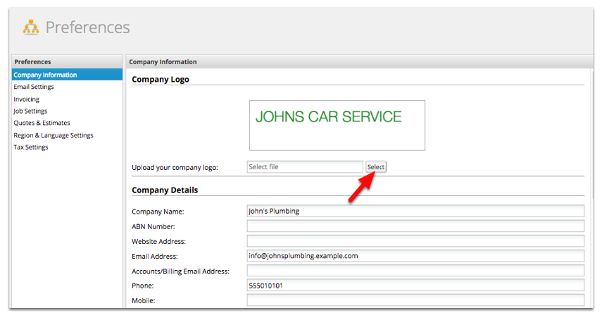 Go to Preferences, then select Company Information to change your current logo. Click Select.