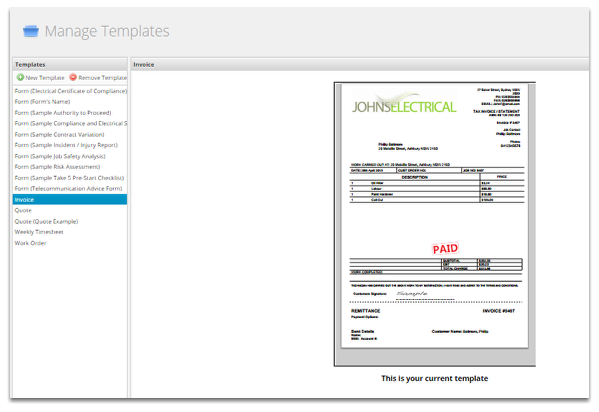 This area allows you to select, edit and create new templates.