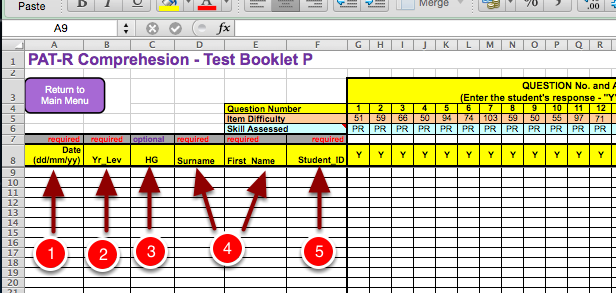 Step 4: Fill out all of the information in Column A-F