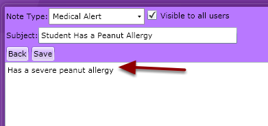Step 5: Add the details of the Alert into the notes box provided