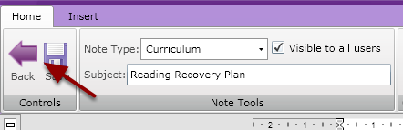 "Exit the Note or Alert by pressing ""Back"" to return to the students overview page"
